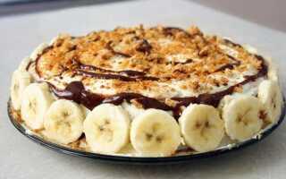 Как приготовить шоколадно-банановый торт (без выпечки, с кремом) – рецепт с фото