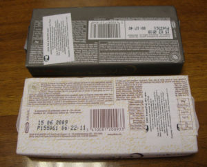 Маркировка на плитке шоколада