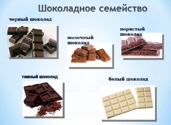 Виды шоколада какой бывает