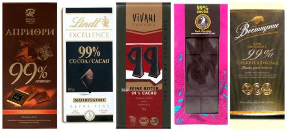 Виды горького шоколада