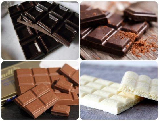 Разные виды шоколада калорийность