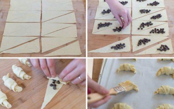 Приготовление круассанов с шоколадом