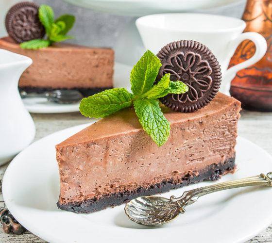 Шоколадный чизкейк с мятой рецепт