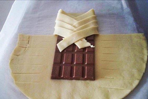 Слойка косичкой из слоеного теста с шоколадом