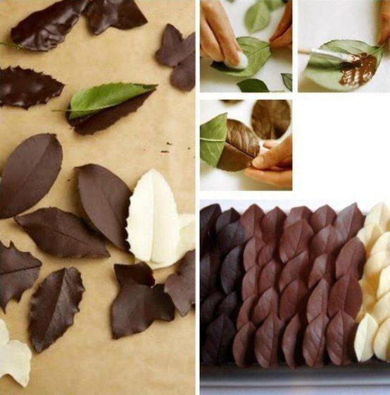 Листья из шоколада для украшения