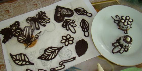 Шоколадные узоры для украшения торта