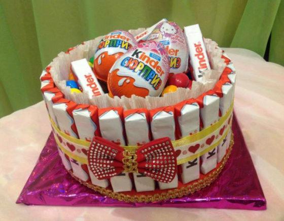 Торт из конфет для девочки